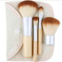 1set/4Pcs Beauty	 Professional Foundation Make Up Cosmetic Bamboo Brushes Makeup Brush Set Kit Tools Eye Shadow Blush Brush
