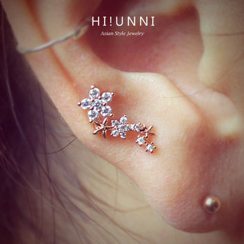16g CZ Studded Sparkling Flower Barbell Ear Piercing Studs, cartilage earrings helix piercing / 316L Surgical Stainless Steel /Sold as piece