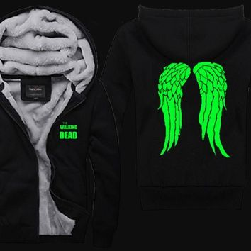 The Walking Dead Hoodie Zombie Daryl Dixon Wings Fleece Zip Up Mens Coat Sweatshirts Rick Carl Amy  S-5XL (US Size)