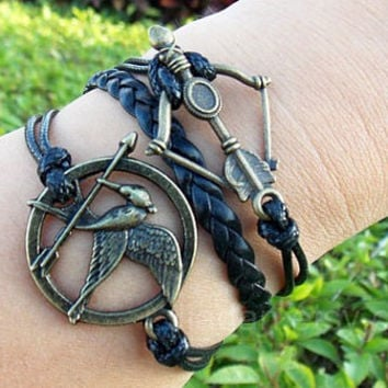 hunger games bracelets,mockingjay pin bracelet,catching fire bracelets , leather bracelet,fashion charm jewlery,best Blessing Gift