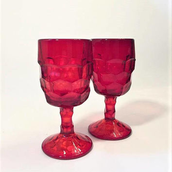 Ruby Viking Georgian Wine Glasses, Pair of Red Glass Goblets, Vintage Wine Glasses, Colored Goblets