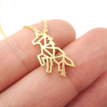 Unicorn Outline Cut Out Shaped Charm Necklace in Gold | Animal Jewelry