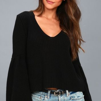 Damsel Black Bell Sleeve Knit Sweater