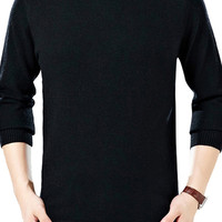Turtleneck Ribbe Trim Slim Fit  Knit Sweater