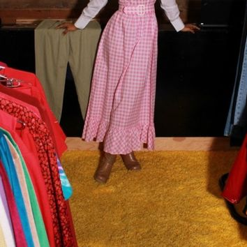 70's Gingham Long Dress / S