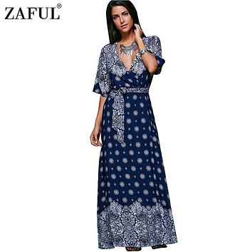 ZAFUL New 2017 Women Vintage Bohemian Maxi Dress Half Sleeve Beach Robe Ethnic Print Summer Dresses floral ladies femal Vestidos