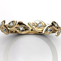 14k yellow gold diamond unusual unique floral wedding band LB-2027-2.