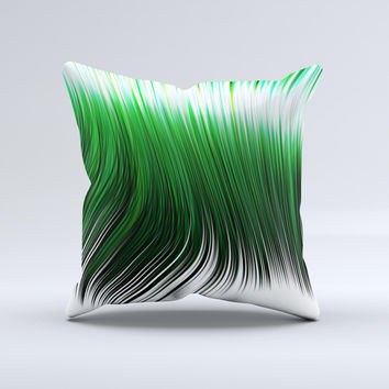 Green Vector Swirly HD Strands Ink-Fuzed Decorative Throw Pillow