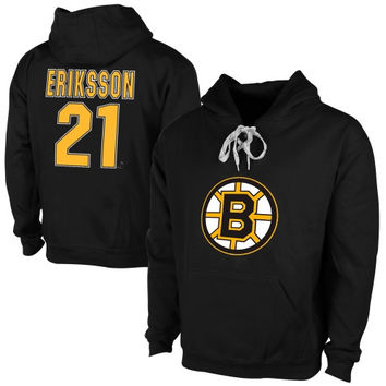 Old Time Hockey Loui Eriksson Boston Bruins Current Player Malcolm Skate Lace-Up Name & Number Pullover Hoodie - Black
