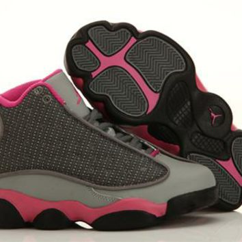 New Nike Air Jordan 13 Kids Shoes Black Grey Pink