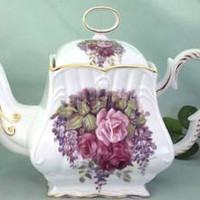8 Cup Square Hand Deocorated Porcelain Teapot