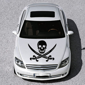 PIRATE SIGN SKULL WITH CROSS SWORDS HOOD CAR VINYL STICKER DECALS GRAPHIC SV1021