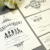 French Victorian Wedding Invitations Ivory and Black Pocket Invitation Vintage Wedding Invitation Suite Rustic Wedding Invite Set RunkPock