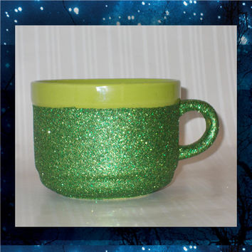 Lime Green Mug with Green Glitter - Glitter Coffee Mugs - 22oz stoneware mugs - tea mug - glitter cups - glitter mugs
