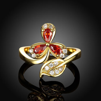 Gold Plated Red CZ Crystal Leaf Rhinestone