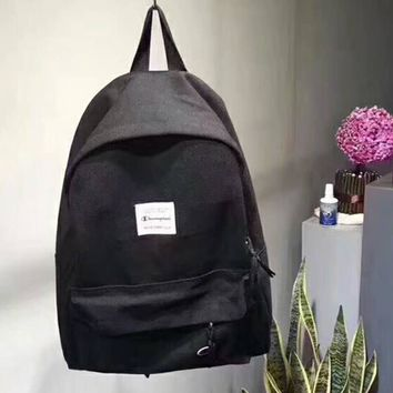 Champion New fashion letter print travel high capacity couple bag backpack Black