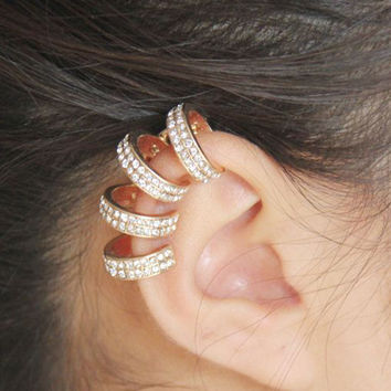 Silver Faux Diamond Ring Ear Cuff