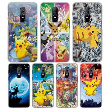 for OnePlus 6 5T case cool s pika Pattern Transparent frame Hard back Case Cover for Oneplus 5T 6 phone caseKawaii Pokemon go  AT_89_9