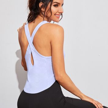 Tie Front Criss Cross Back Tank Top