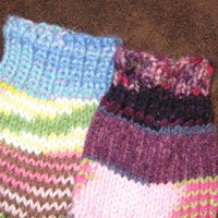 Hand Knitted Socks in Cool Kaleidoscope Mis-Match Colors!