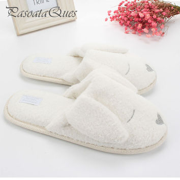 Cute Dog Animal Pattern Cotton Home Slippers Women Indoor Shoes For Bedroom Adult Guest House Slippers Winter Soft Bottom Flats