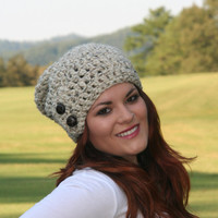 Slouchy  Beanie Hat With Two Buttons-  Oatmeal