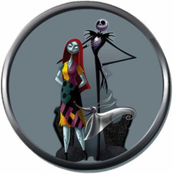 Jack And Sally In Love On Blue Nightmare Before Christmas Jack Skellington 18MM - 20MM Charm for Snap Jewelry New Item