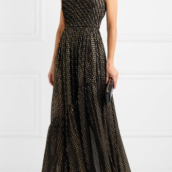 Stella McCartney - One-shoulder metallic fil coupé silk-blend chiffon gown