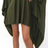 Fashion Bat Sleeve Pure Color Irregular Long Cloak Blouse