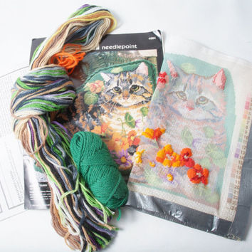 Needlepoint Kit Garden Tabby Cat Design includes Printed Pattern Thread and Instructions
