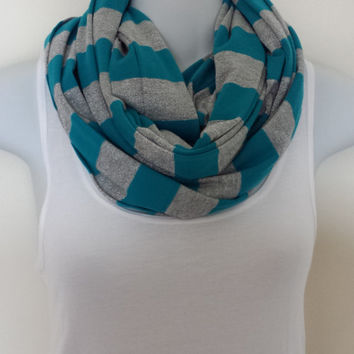 Striped Infinity Scarf Teal Scarf Silver Infinity Scarves Turquoise Scarf Knit Scarf Fashion Scarf Womens Scarves Long Scarves Grey Scarf