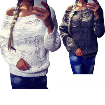 Sexy Women's Off Shoulder Long Sleeve Knit Sweater Pullover