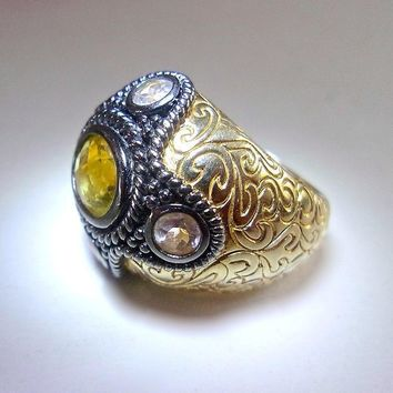 Citrine Sterling Silver & Vermeil Ring, Clear Quartz, Domed Etched Scrolls, Size 8 Vintage