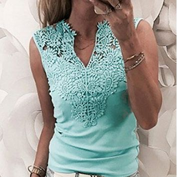 Women's solid color stitching lace v-neck T-shirt blue