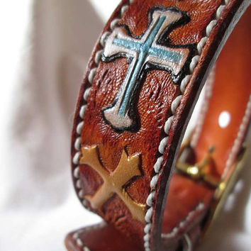 "Crosses tooled small leather dog collar, ""Blessing theme handmade collar, Small dogs"