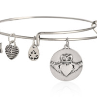 Alex and Ani style Crown love pendant charm bracelet,a perfect gift !