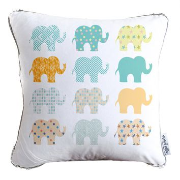 Elephant Kids Decorative Throw Pillow w/ Reversible Gold & White Reversible Sequins - COVER ONLY (Inserts Sold Separately)