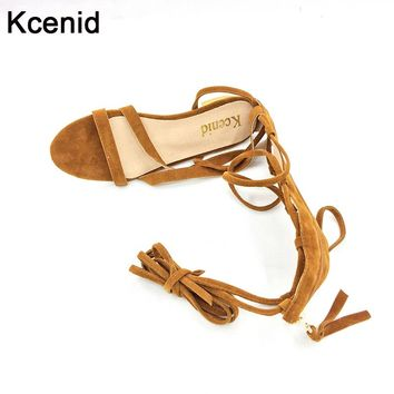Kcenid big size 33-43 new shoes women sandals lace up sexy knee high boots zip gladiator tie string casual flat designer shoes