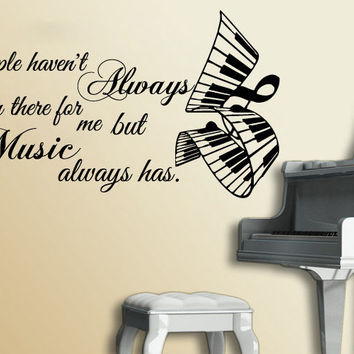 Music Piano Keyboard Wall Decal Quote People Vinyl Stickers Note Home Decor SM20