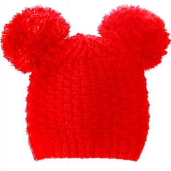 Mickey Mouse Double Pom Pom Beanie Hat - Red