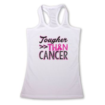 "Women's ""Tougher than Cancer"" Breast Cancer Awareness Racerback TANK  WHITE"