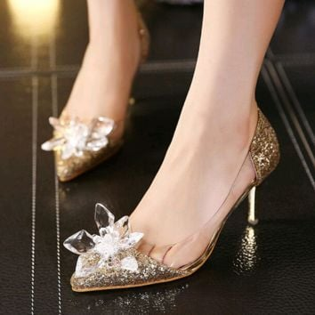 2017 Cinderella Shoes Adults Movie Low Heels Pumps Women Wedding Shoes Thin Heel Rhinestone Butterfly Crystal Dress Shoes