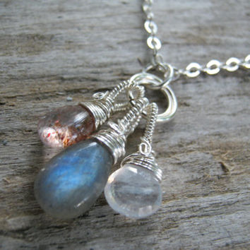 Stars, Sun & Moon Necklace, Labradorite Sunstone Moonstone, Sterling Silver Wire Wrapped, Equinox Necklace, Choose Your Length
