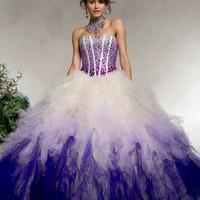 Custom Organza Crystal Beaded Sweetheart Ruffled Ball Gown Floor Length Sequins Colorful Quinceanera Dresses New Arrival Alternative Measures - Brides & Bridesmaids - Wedding, Bridal, Prom, Formal Gown