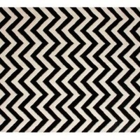 One Kings Lane - Black  White with Color - Chevron Rug, Black