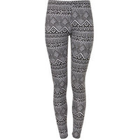 Grey Zig Zag Aztec Print Leggings
