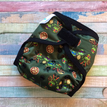 Turtle Heros Polyester PUL Cloth Diaper Cover With Aplix Hook & Loop Or Snaps You Pick Size XS/Newborn, Small, Medium, Large, or One Size