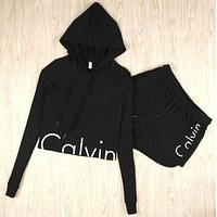 "Fashion ""Calvin Klein"" Print Shirt Top Hoodie Sweatshirt Shorts Set Two-Piece Sportswear"