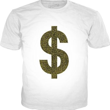Faux gold and black swirls doodles Dollar Classic T-Shirt White
