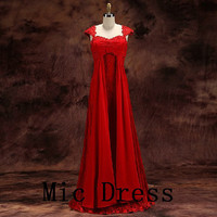 Straps cap sleeves floor-length red chiffon with appliques beading long prom/Evening/Party/Homecoming/cocktail /Bridesmaid/Formal Dress